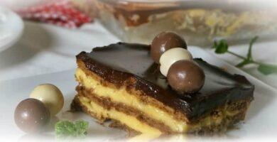tarta de galletas con flan
