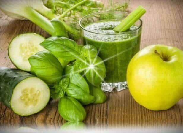 jugo de manzana verde con espinaca